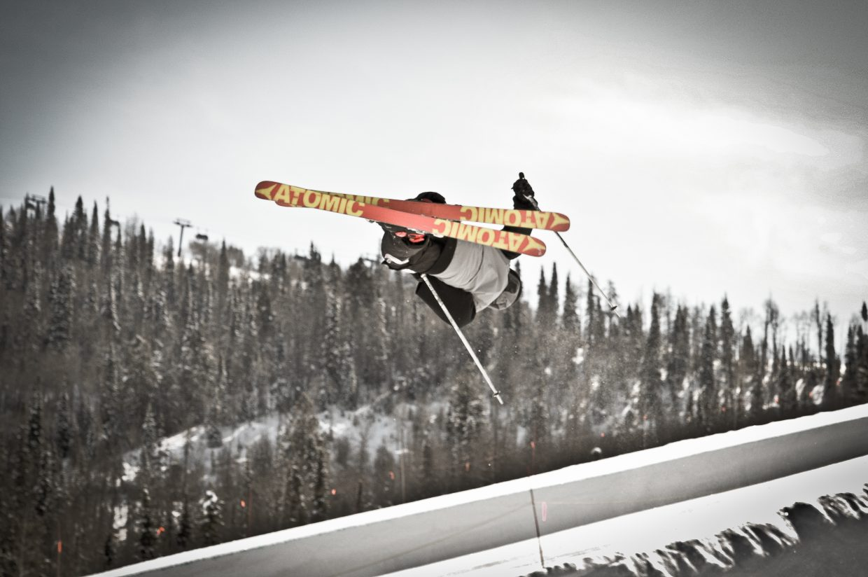 """Jesse Pugh skis in the terrain park at Steamboat Ski Area. Pugh is featured in Phase Media's film """"The Infamous."""" The film will be show as part of the Reel Awards at 7 p.m. Friday at Colorado Mountain College."""