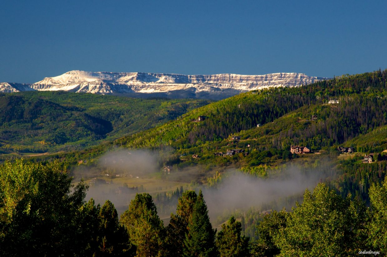 First snow on the Flattops, taken Tuesday. Submitted by: Ollie Ballard