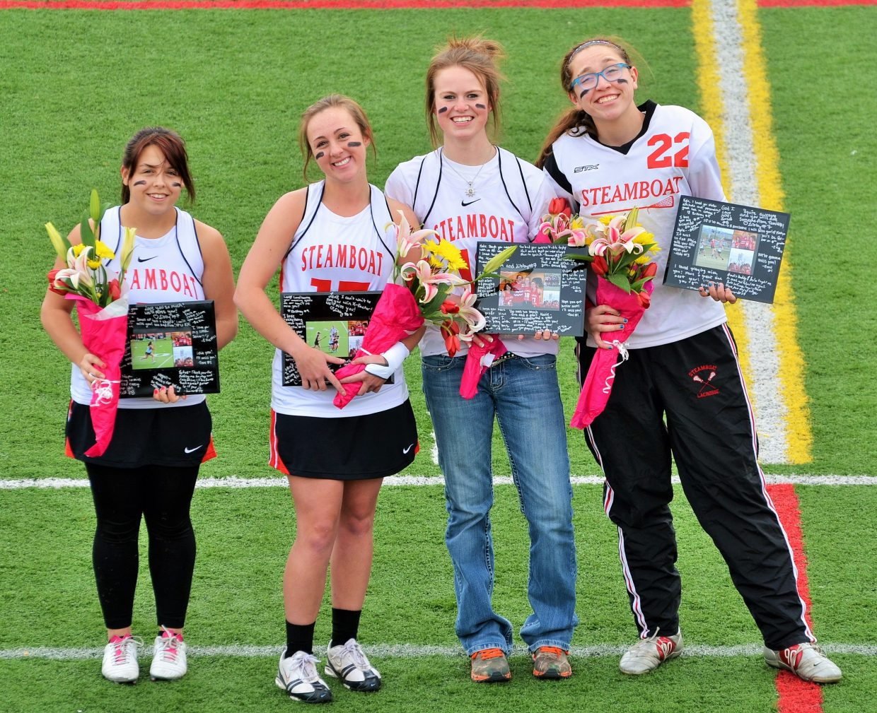 The four seniors on Steamboat Springs' girls lacrosse team: Meghan Garcia, from left, Lexy Look, Katie Parker and Kyla Taylor. Submitted by Shannon Lukens.