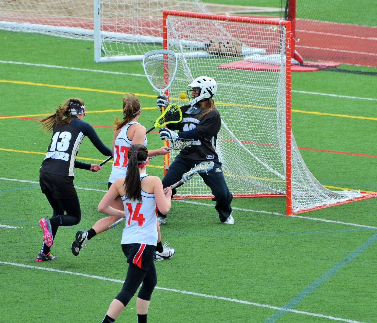 Steamboat's Lexy Look (#17) scores her first goal in the game Wednesday against Battle Mountain. Bella Arce (#14) assists. Submitted by Shannon Lukens.