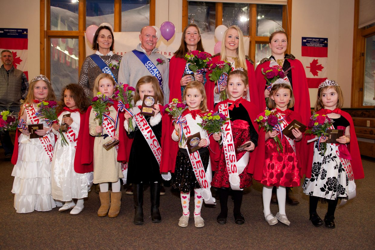 Winter Carnival Queen Cara Piske and her court were honored during 2014 Winter Carnival opening ceremonies Wednesday at Howelsen Hill Lodge's Olympian Hall. In the front row, from left, are little princesses Riley Meisegeier, Vanessa Dorr, Hazel Fernley, Abby Elliott, Anna June Rhodes, Brynn Rose, Madelyn Moline and Henley Elizabeth Kerrigan. Second row, grand marshals Janet and Tim Borden, Piske, junior attendant Serina Kidd and sophomore attendant Melissa Requist.