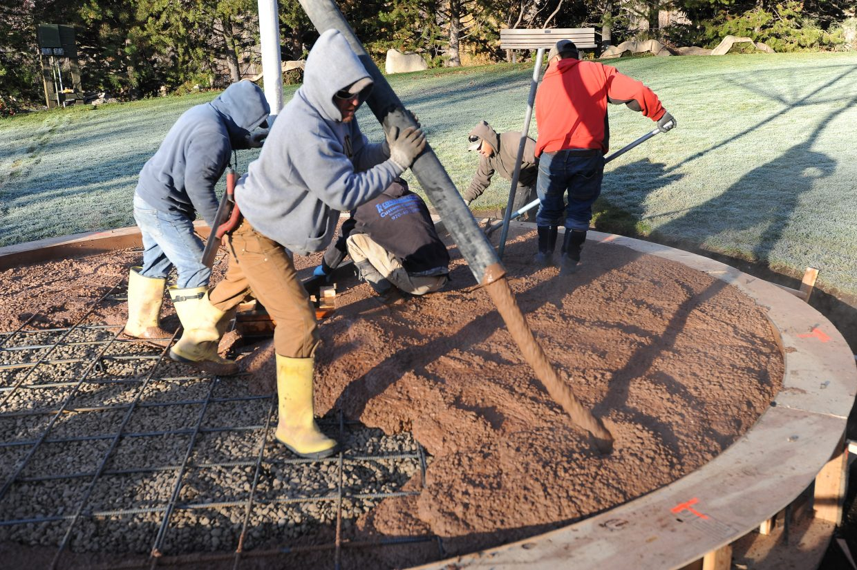 A stage is being built to help accommodate the Music on the Green performances that happen in the summer at the Yampa River Botanic Park. The round stage with stamped concrete allows for an electrical outlet and a large umbrella that is 16 feet in diameter. The total cost of the project will exceed $15,000, which will come out of the capital development fund that the public supports. James Welch, of Ergo Construction, is helping construct the stage, and the park's volunteers and staff have done the excavation and drainage work to protect the lawn and irrigation system.