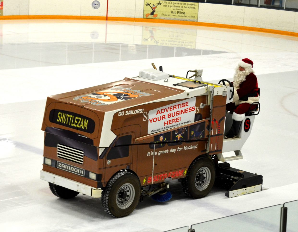 Santa Claus drives the Zamboni at Friday night's SSHS hockey game. It is really Greg LaPointe. Submitted by: Shannon Lukens