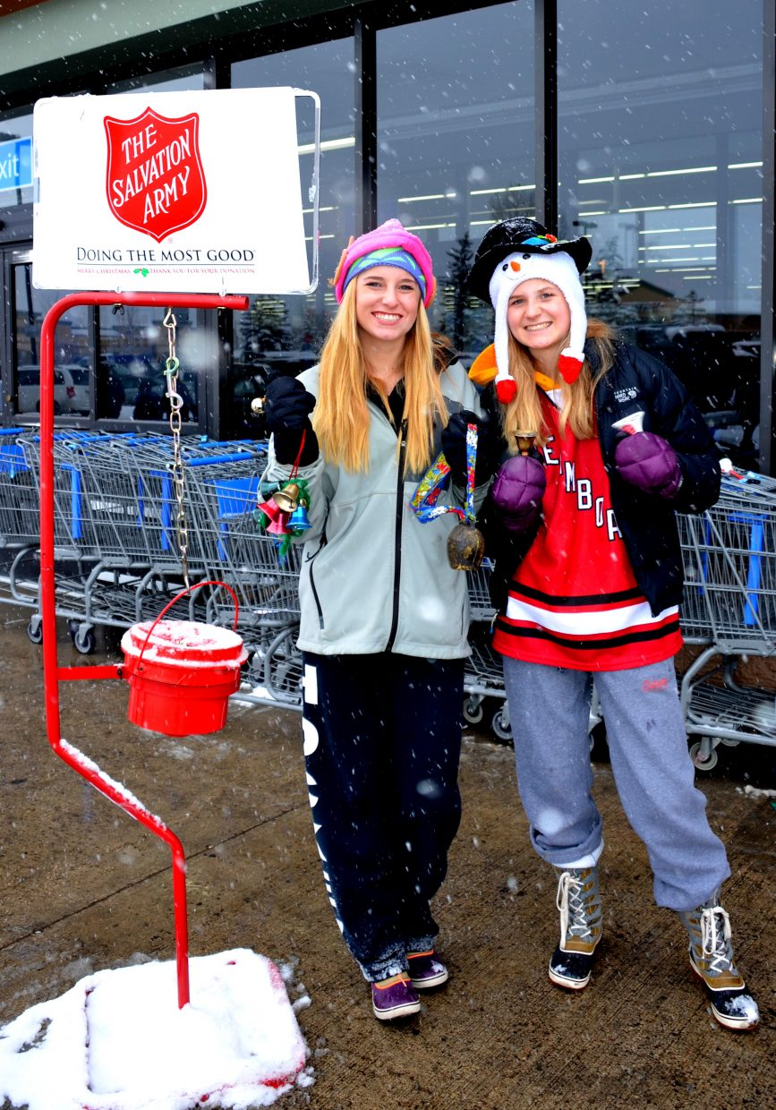 The girls from the U14 SSYHA hockey teams (Brooke Buchanan and Libby Lukens) rang the bells for the Salvation Army today, at Walmart. Submitted by: Shannon Lukens.
