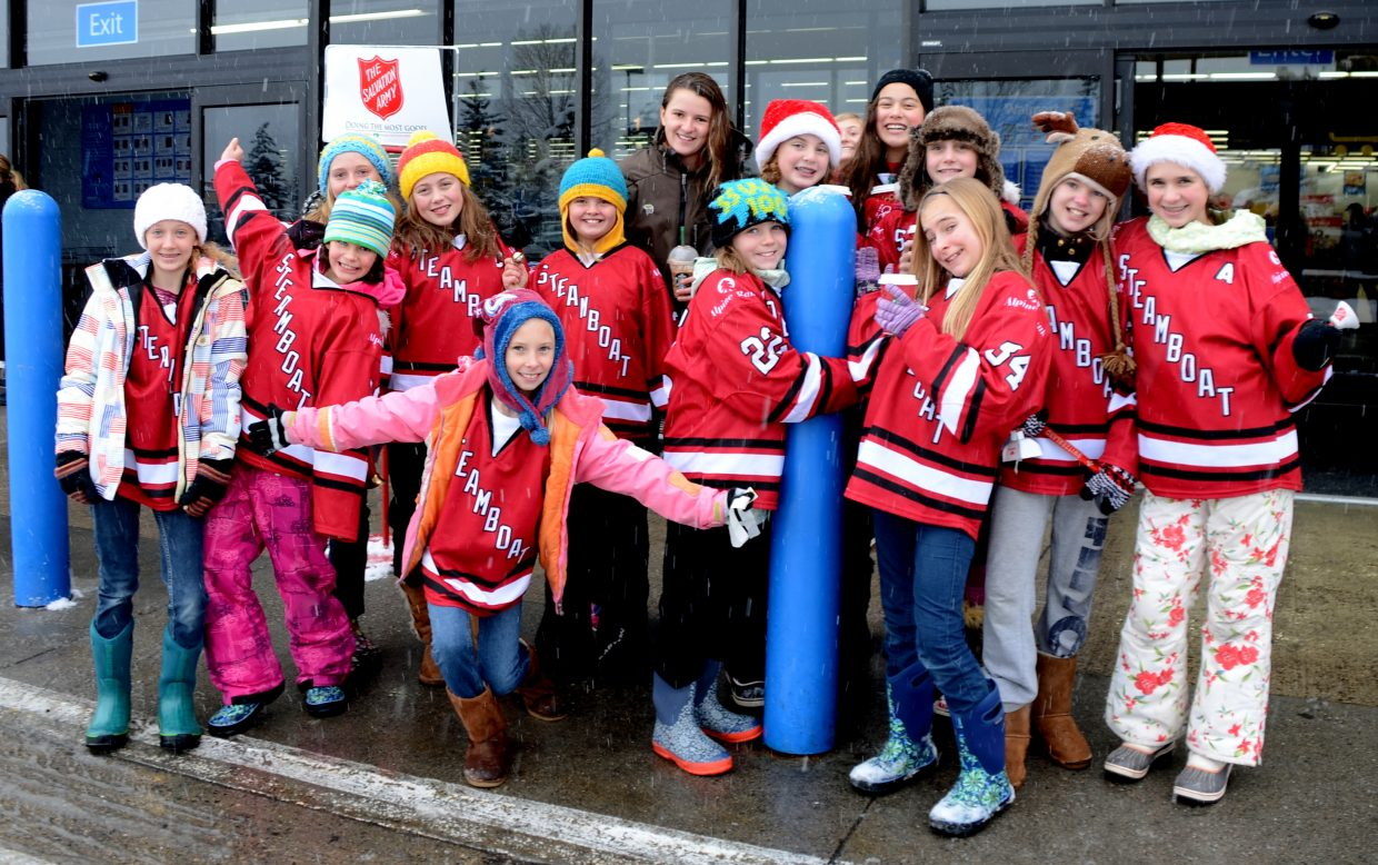The girls from the U12 SSYHA hockey teams (Steamboat Springs Youth Hockey Association) rang the bells for the Salvation Army today at Walmart. Submitted by: Shannon Lukens.