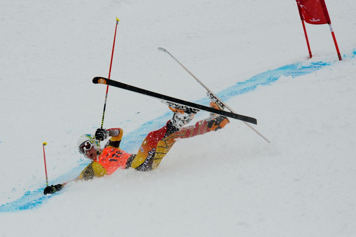 Day three of the Telemark World Cup and the first day at Howelsen Hill provided an element of surprise to many of the world's best tele racers Thursday. Canada's Beau Johnson takes a fall after trying to make a sharp turn immediately after the jump landing. Submitted by Rory Clow.