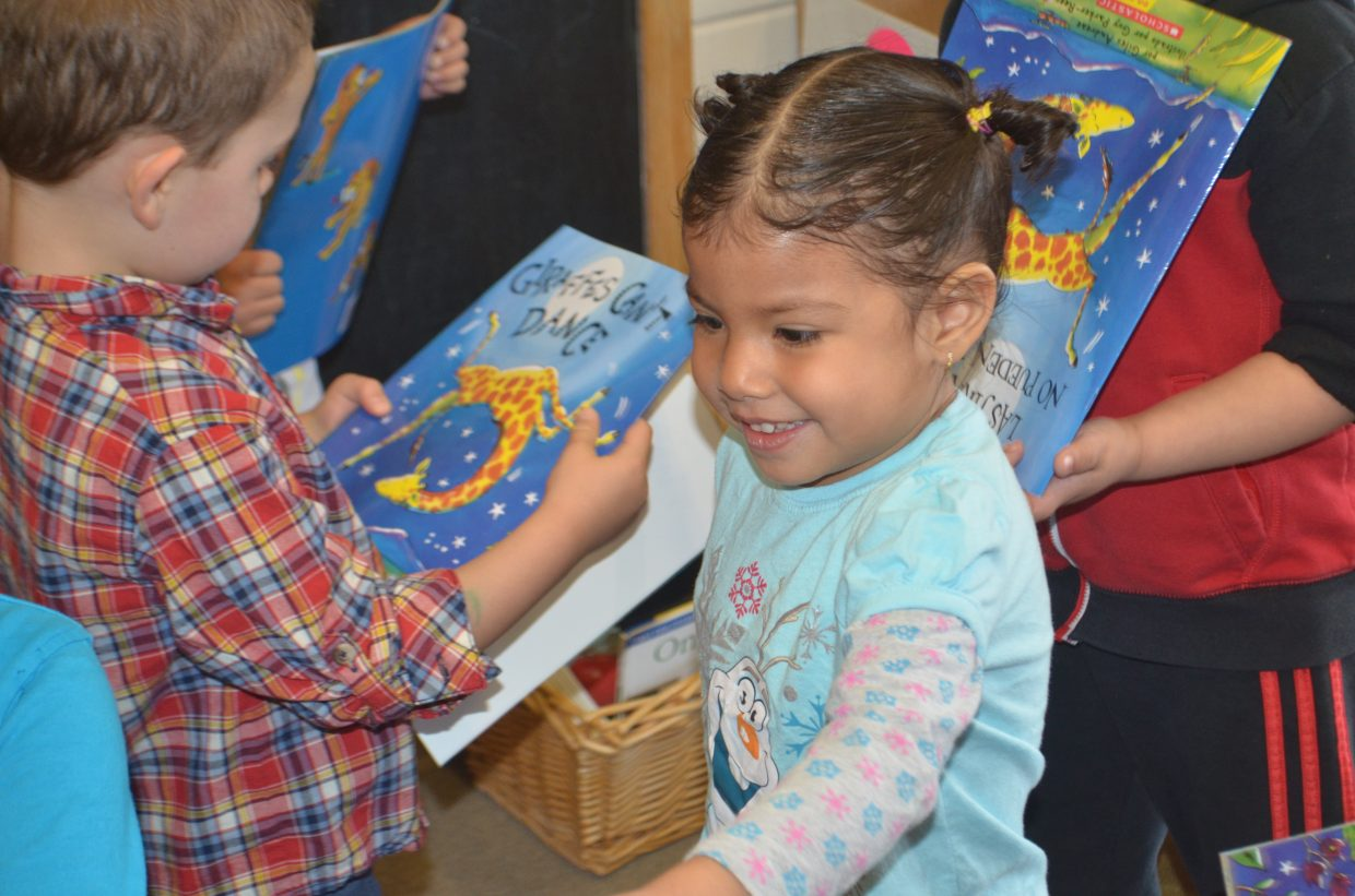 Four year olds at the Steamboat Springs School District receive the featured One Book 4 Colorado book.