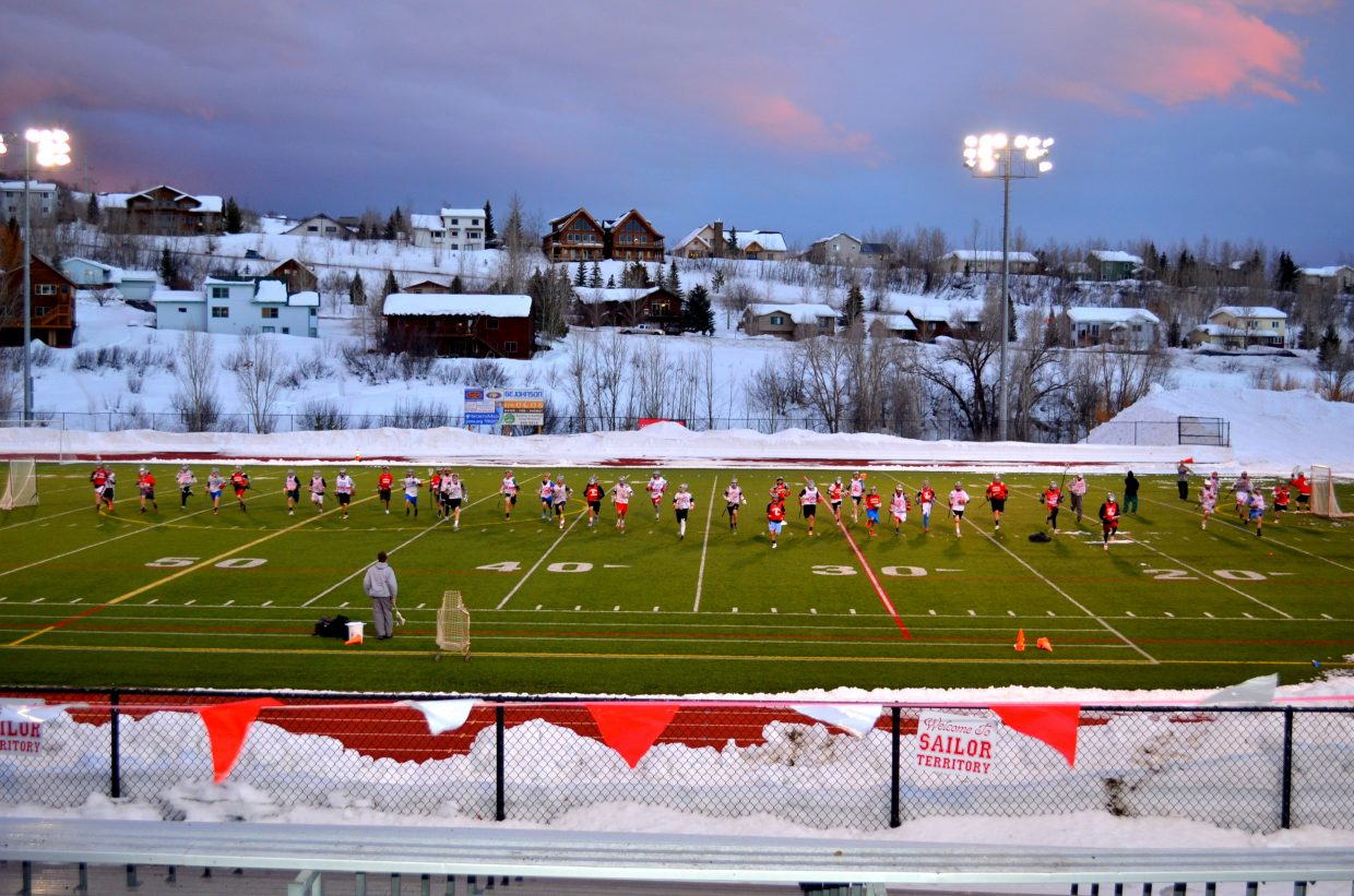 Here is a fun picture from tonight's lacrosse practice at the high school. Thanks to those who helped clear the turf of snow. Submitted by: Shannon Lukens