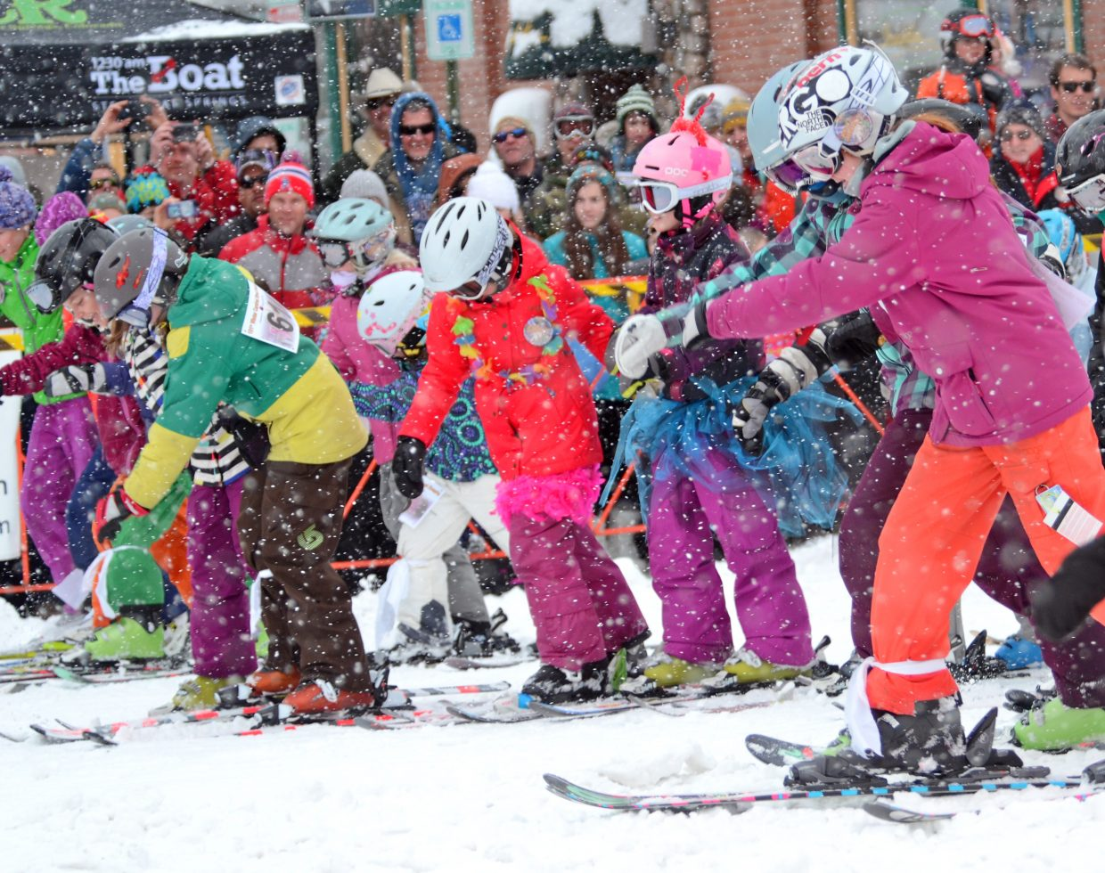 Three-legged race on skis in downtown Steamboat Springs. Submitted by Steve Baroch.