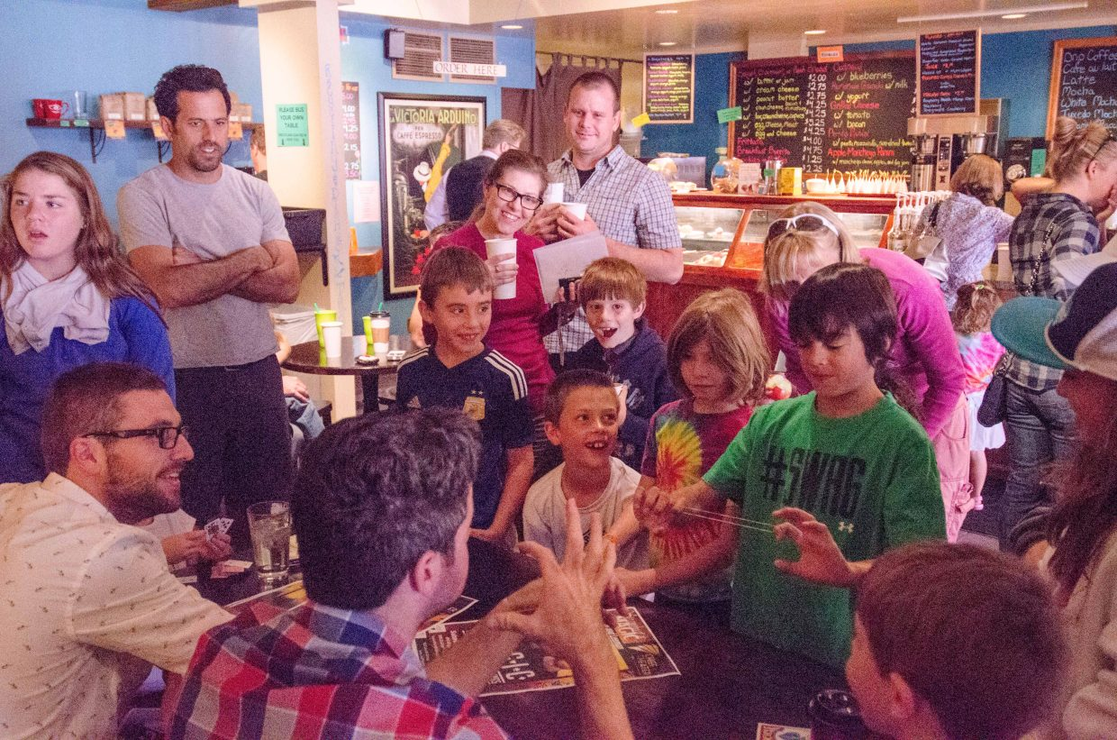 Last Weekend magicians, David and Leeman performed a few magic tricks for a crowd of kids at the Steaming Bean before their show later that night.