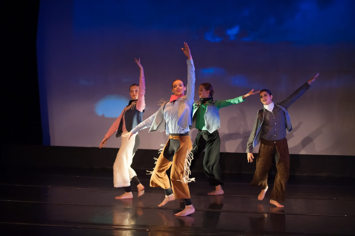 Young dancers Eliana Shephard, Cassidy Zuna, Sadie Straub and Harley Holthusen perform this weekend in a tribute to Perry-Mansfield's famous alum Agnes DeMille and her time at the historic Routt County Carpenter Ranch.