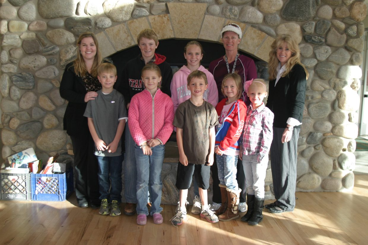 December birthdays at North Routt Community Charter School in Clark. Back row: MaryJo Cousens, Macray Dillingham, Lacey Sherrod, Lori Raper and Amy Cosgrove. Front row: Cooper Stratton, Quinlann Yeager, Tanner Hamilton, Charley Lodwick and Kayla Knight. Not pictured: Hannah Rosencutter. Submitted by: Stella Peroulis