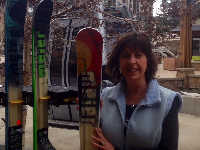 Delores Rode, winner of a drawing by Black Tie Ski Rentals, holds the skis she won, Meier Quick Draw skis. Submitted by Cindy Patten.