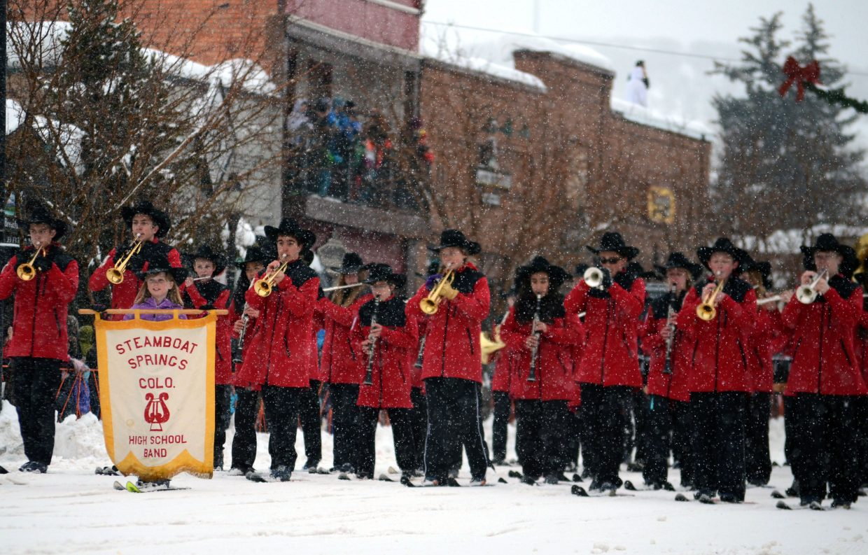 The Steamboat Springs Marching Band performed on skis during the 101st Winter Carnival's Diamond Hitch Parade on Sunday.