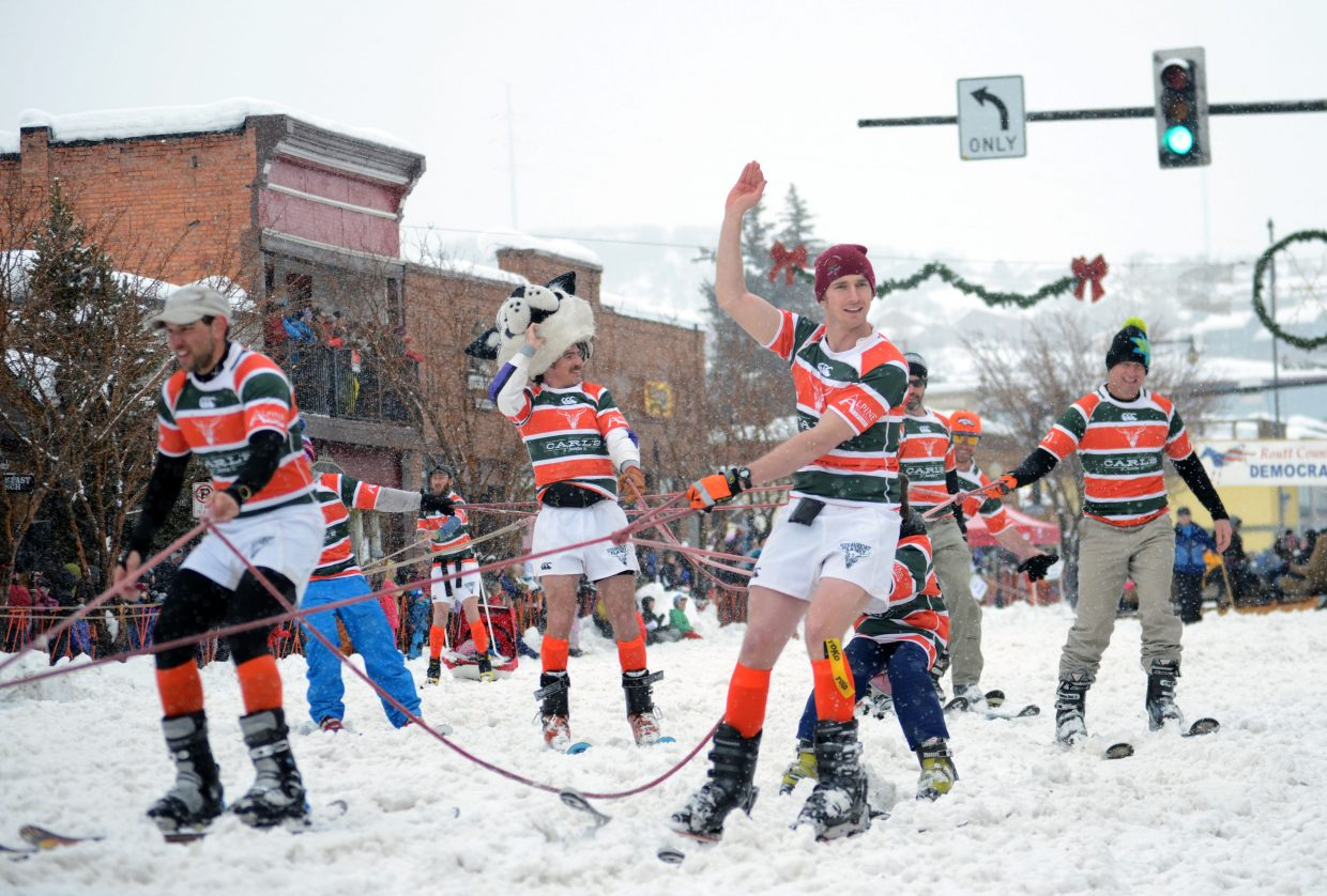 Members of the Steamboat Springs Rugby Club braved the cold, wet weather during Sunday's Diamond Hitch Parade.