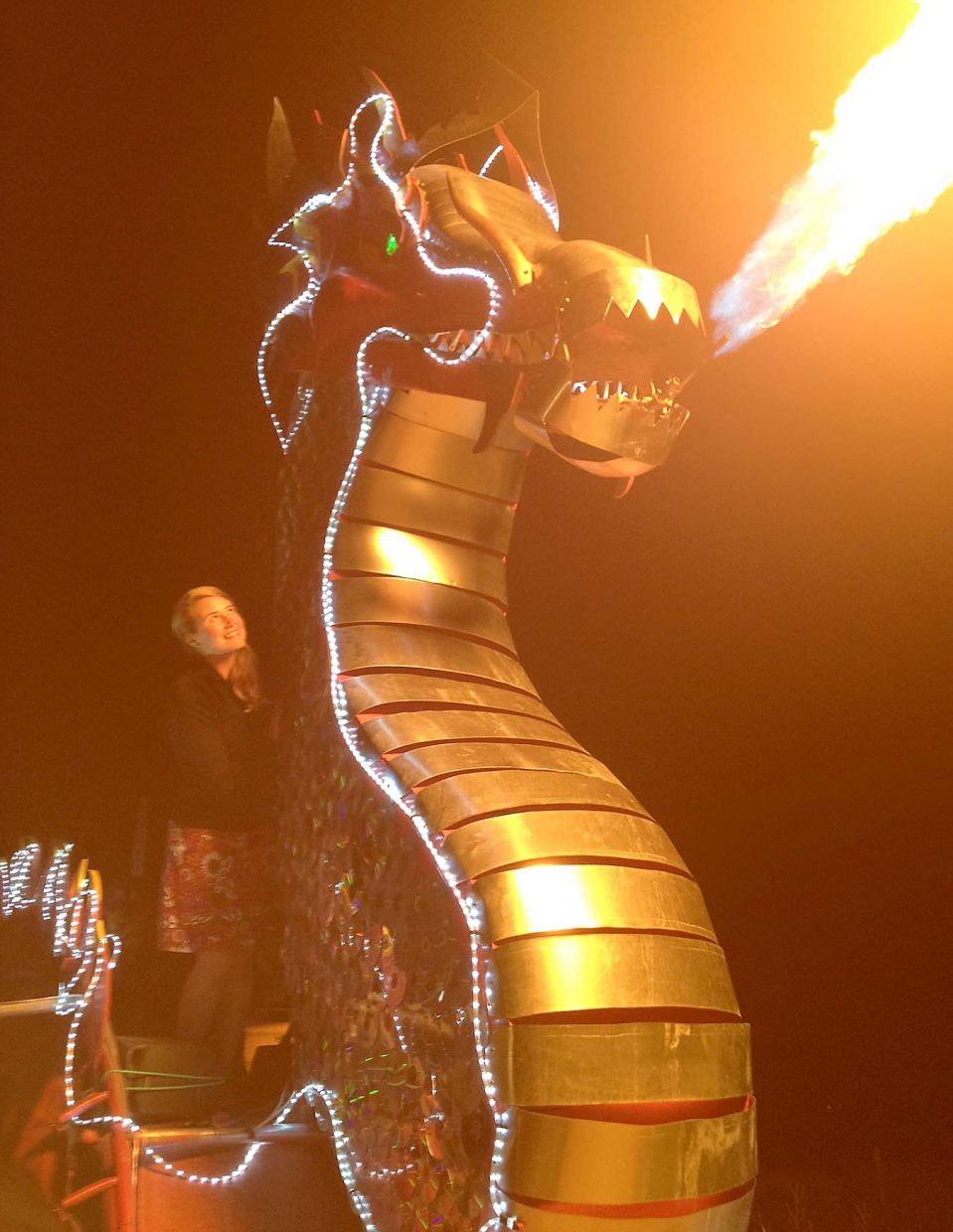 Phoenix, the newest fire-breathing dragon created by Steamboat Springs residents Gail and Charlie Holthausen, will be breathing fire at the Downtown Halloween Stroll, which takes place on Lincoln Avenue from 5 to 7 p.m. Friday.