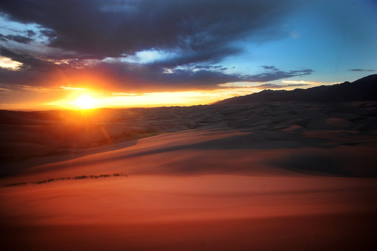 The view of the sunset from the top of the dune field at Great Sand Dunes National Monument is often unforgettable.