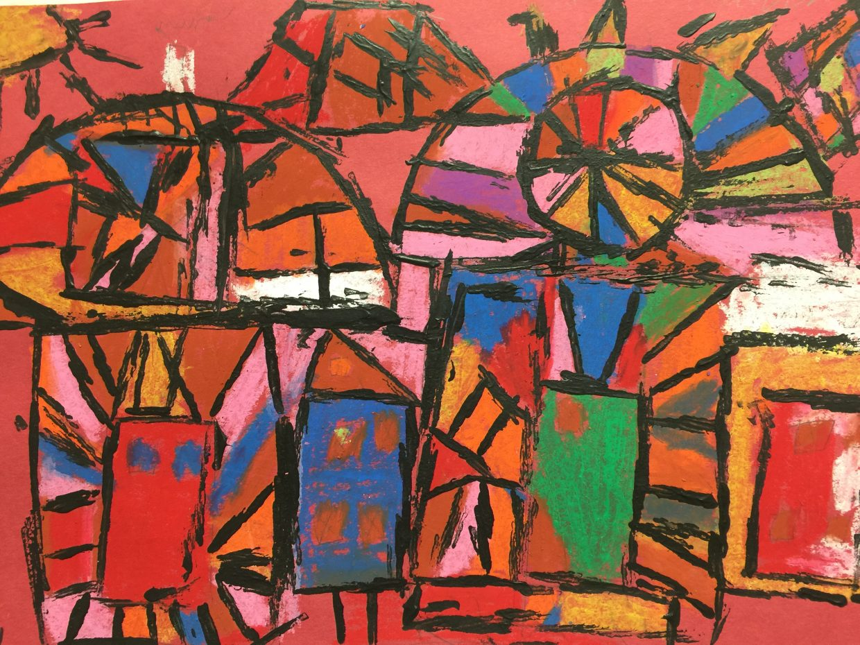 This piece by Lily Hagg, South Routt Elementary School first grader, is a Klee Inspired City and Sun made with oil pastel and black acrylic paint.