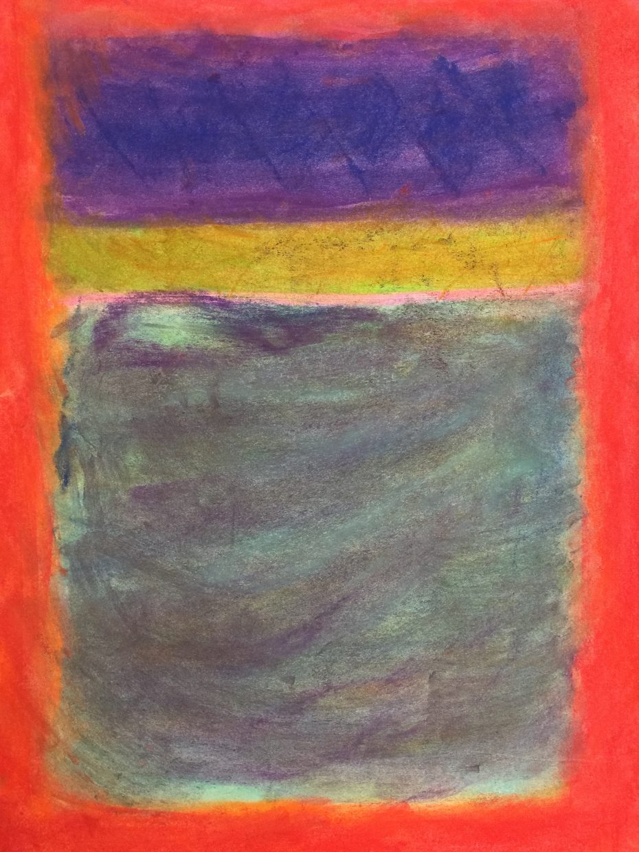 This abstract color field with red border is by Carmen Anarella, a South Routt Elementary School fourth grader. It was created with soft pastels.
