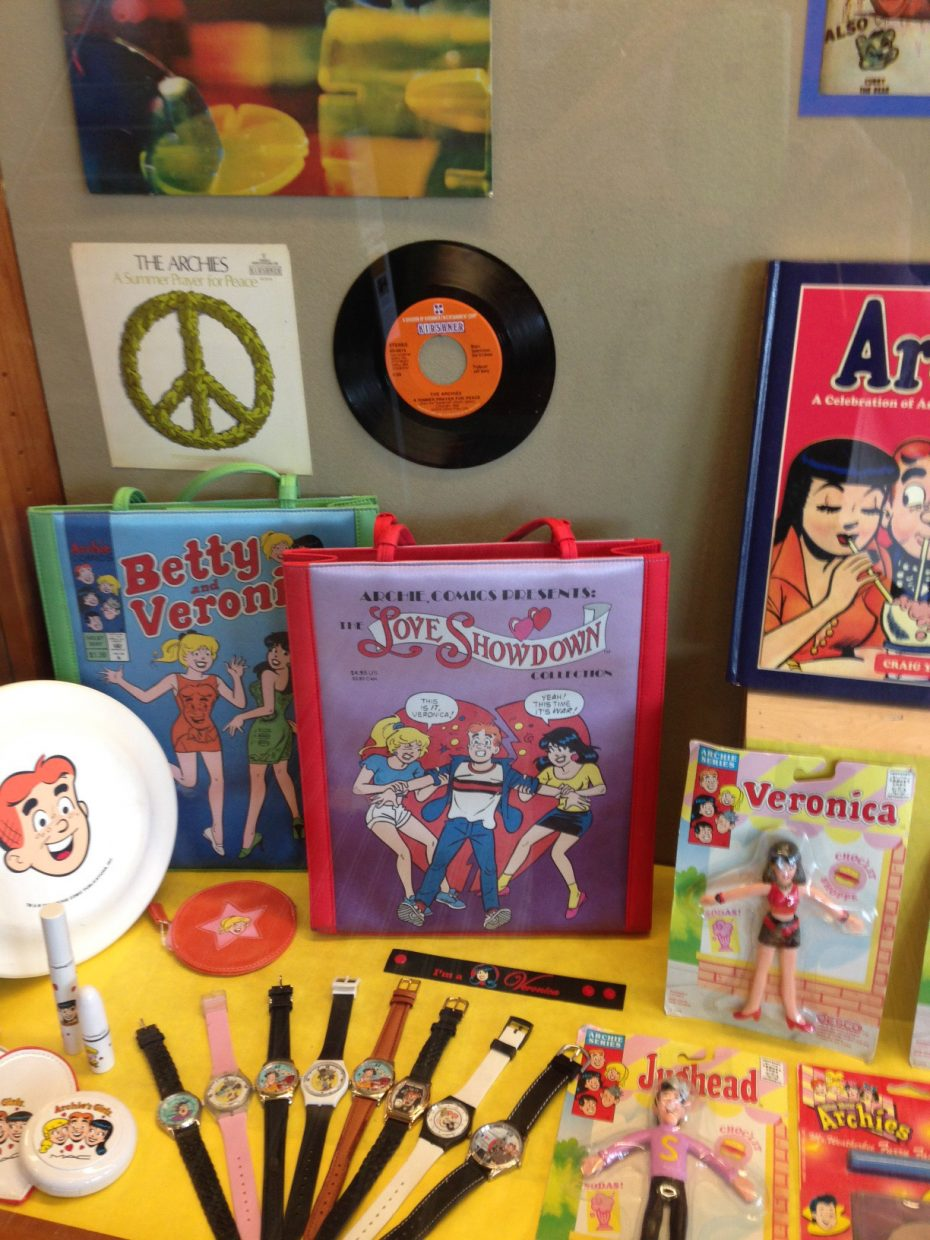 Some of the items on display include lunch boxes, buttons, games, music, cosmetics, clothing, figurines and watches. All of which Nancy Silberkleit, co-CEO of Archie Comics acquired over the years.