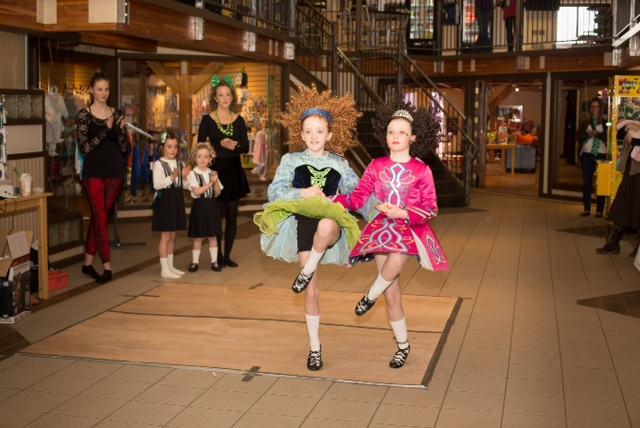 Two dancers, Claire Fisher and Jade Caparelli, from the Steamboat branch of the Bennett School of Irish Dance take part in a performance at In Celebration of Kids Sunday.