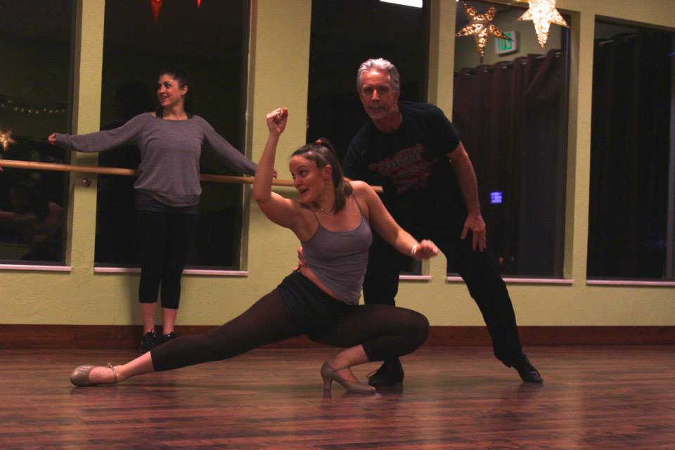 In this photo: Rachel Fuller practicing for the latin dance piece.