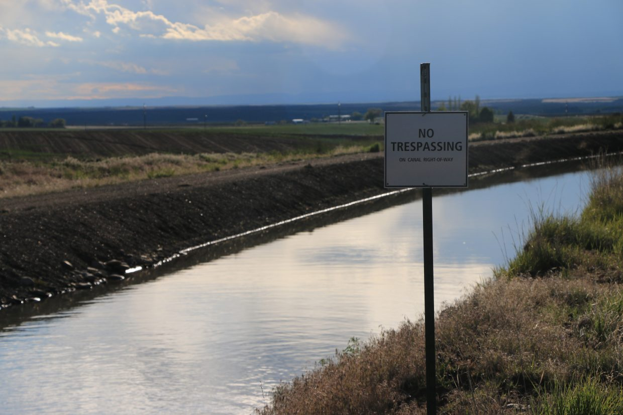 This is a photo of the Dove Creek Canal in Pleasant View, Colorado. Over 200 miles of canals and ditches distribute 85 percent of the Dolores River's annual flow.
