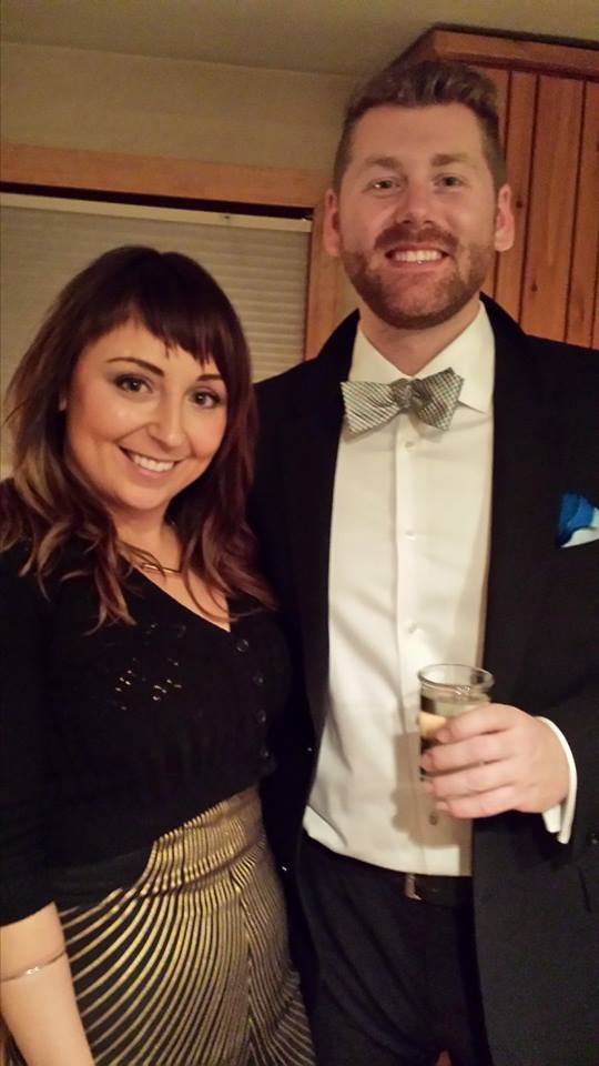 Veronika Khanisenko and Chris Slota pose for a photo at a party they hosted for friends at their Steamboat Springs home.
