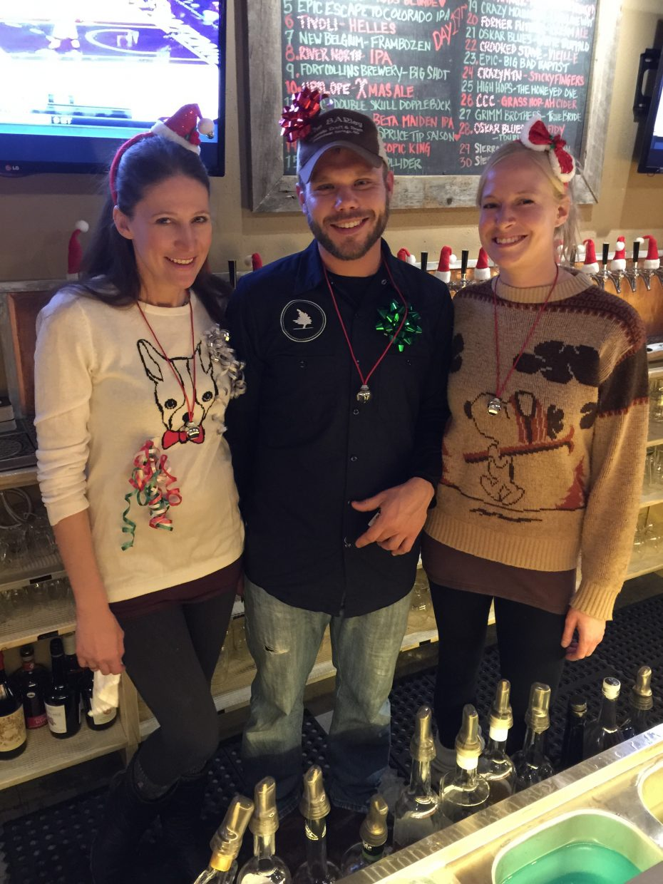 At their Ugly Sweater Party last week, the BARley bar team Kara, Andrew and Kendra all posed for a photo.