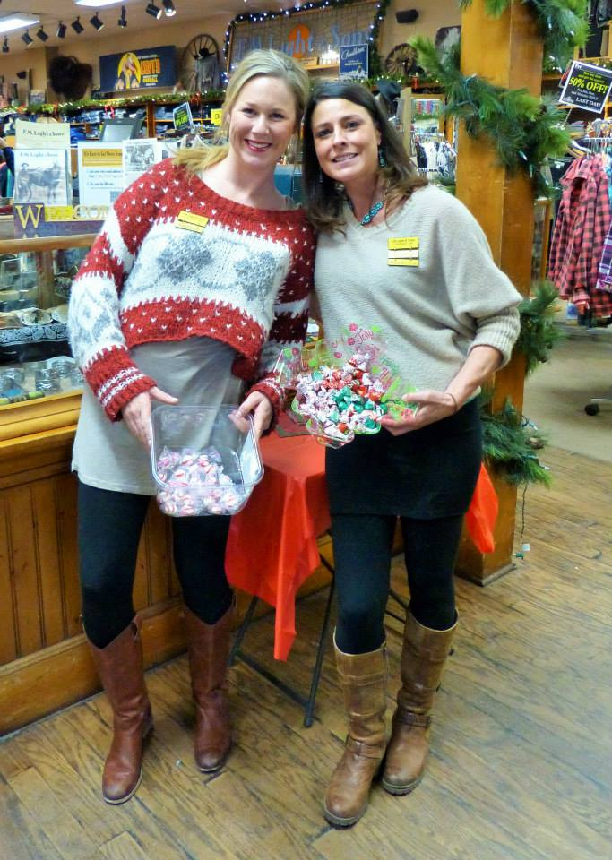 At last weekend's Chocolate Tasting event for Small Business Saturday business owners got together to offer sweet treats to shoppers. In this photo Nathalie Schell and Angela Keller at F.M. Light and Sons.