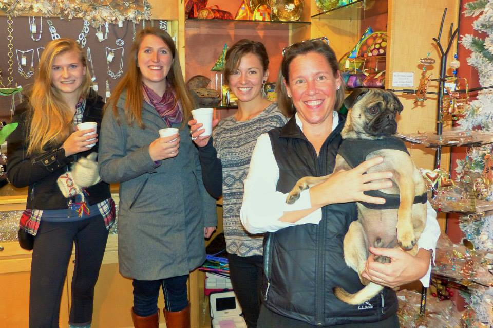 At last weekend's Chocolate Tasting event for Small Business Saturday business owners got together to offer sweet treats to shoppers. In this photo: Libby Lukens, Meghan Lukens, Katie Earixson, Ashley Edinburg (Dog is Eddie) at Steamboat Art Company.