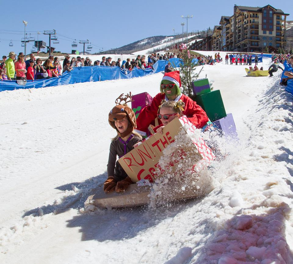 "The ""Grinch Stole Christmas"" craft slides down the hill at the Cardboard Classic last weekend."