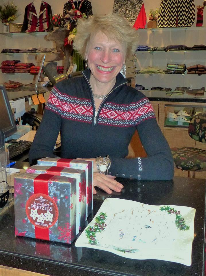 At last weekend's Chocolate Tasting event for Small Business Saturday business owners got together to offer sweet treats to shoppers. In this photo: Jenny Wall, owner of Moose Mountain Trading Company.