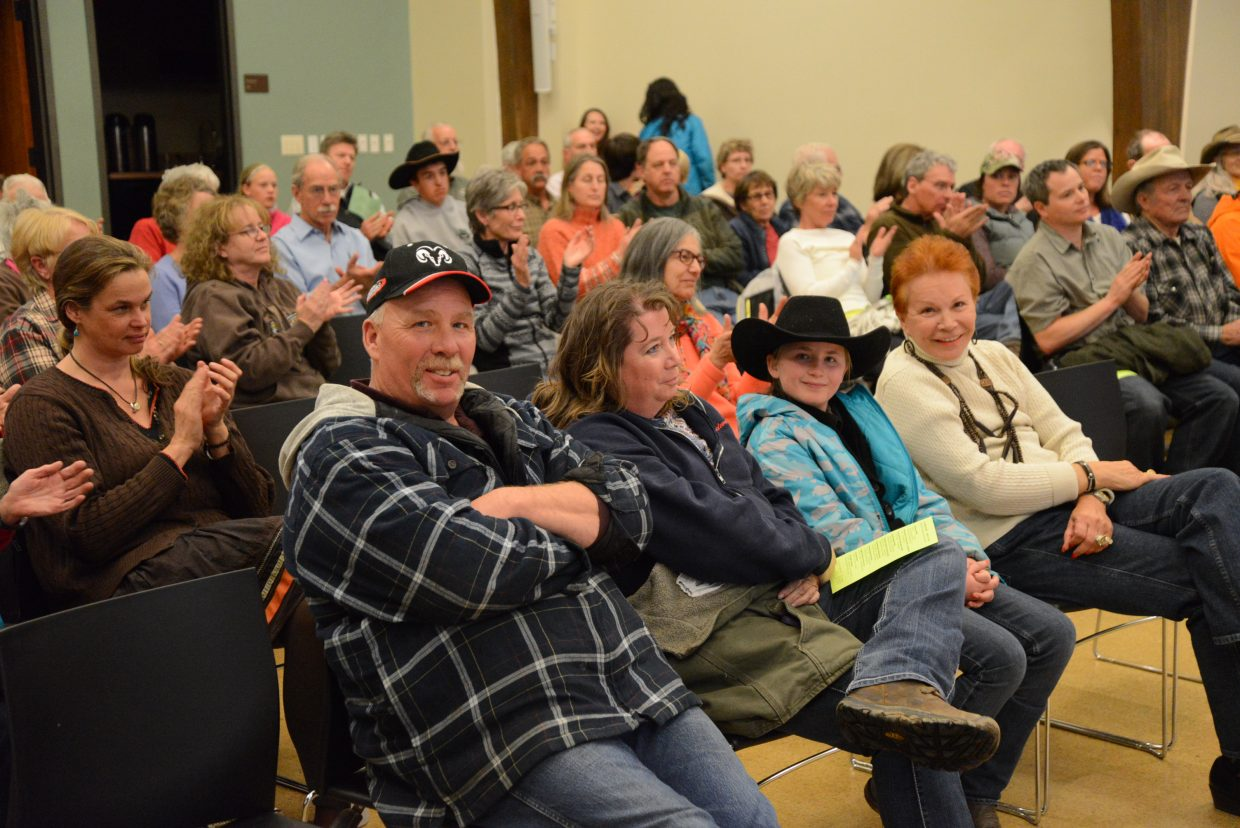 A crowd of locals and visitors gathered to listen to stories and history about Routt County.