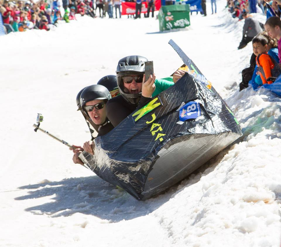 The Jamaican bobsled team craft makes its way down the hill at the 35th annual Cardboard Classic.