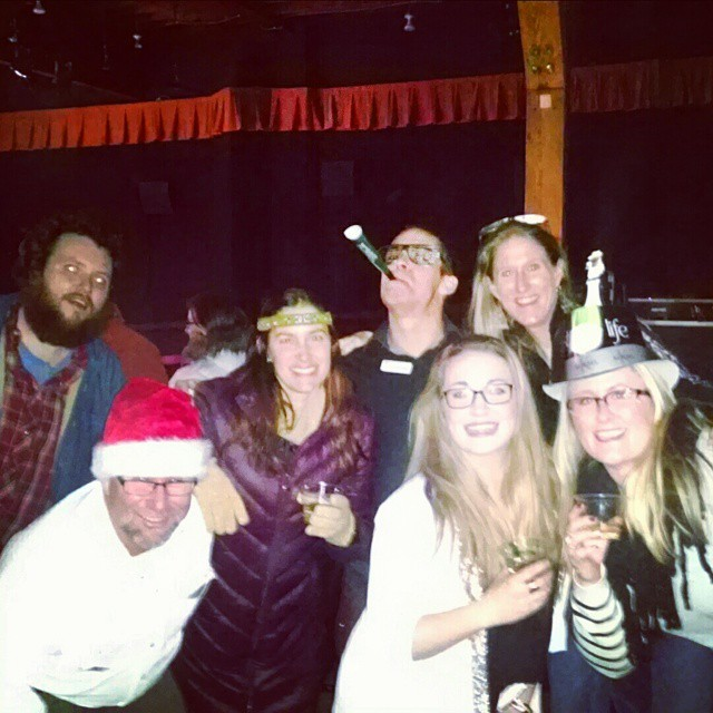 Dan Hohs, Ashley Waters, Wann McNiff and Laura Furrell enjoyed the comedy of Sam Tallent who performed New Year's Eve at the Chief Theatre.