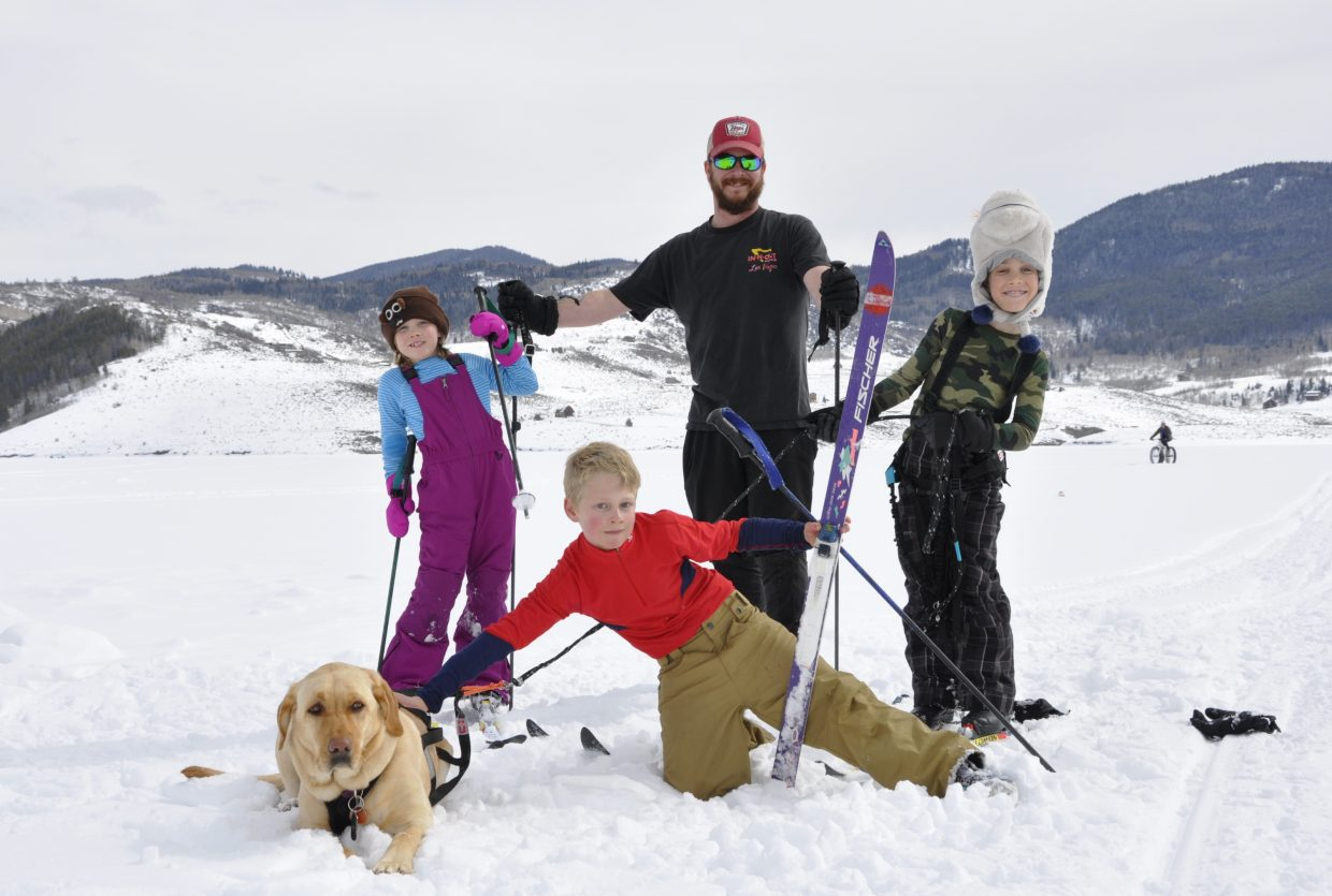 In this photo: Aylen, Brett, Xander Dalke, Olin Webster and Maizey the dog