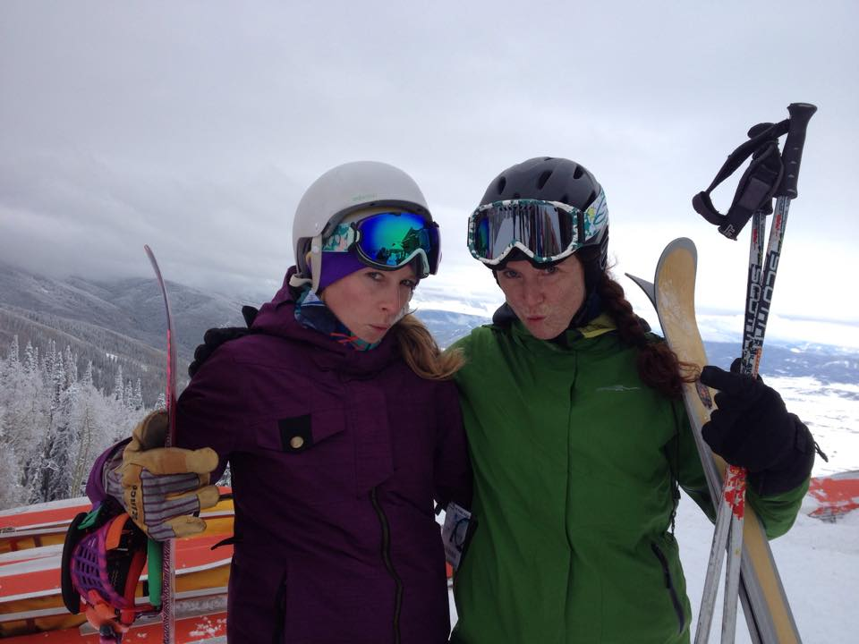 On Scholarship Day, Katie Soulliere and Sheree Brown strike a Zoolander pose, in good spirits about being on the mountain for the first time this season.