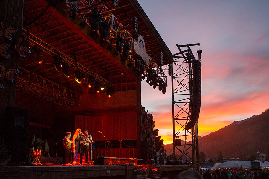 This is a photo from the annual Telluride Bluegrass Festival with Nickel Creek playing. The festival attracts a wide variety of patrons each summer.