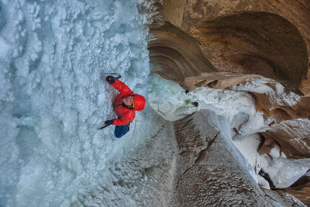 "From the Banff Radical Reels Tour, this photo is from the film ""Desert Ice"" about two climbers Jesse Huey and Scott Adamson, who climb remote high-desert slot canyons of southwest Utah. The photo is credited from the Film Desert Ice (c)."