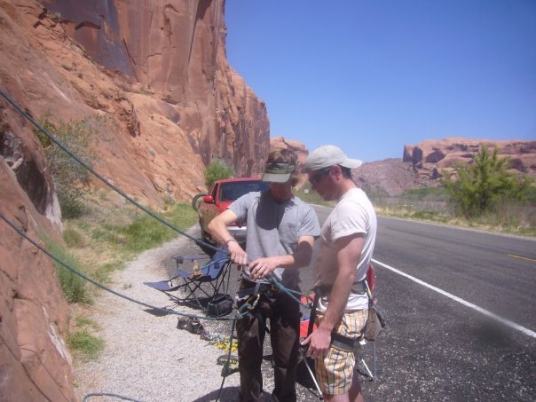 In this photo: Greg Johnson and his outdoor mentor, Pete prior before they belay on for a day of climbing.