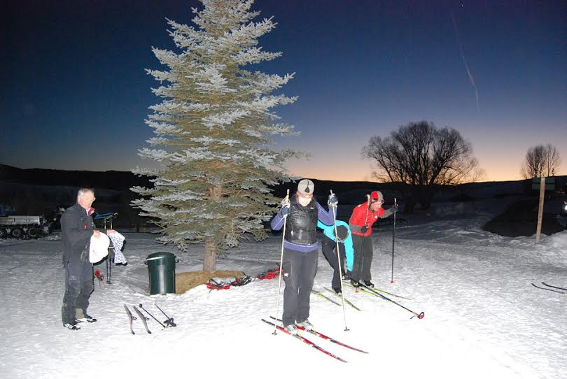 Attendees of the Moonshine Ski & Dine fundraiser set out to cross-country ski under a clear night sky. The event will take place from 5:30 to 9 p.m. Friday at the Catamount Lake House.