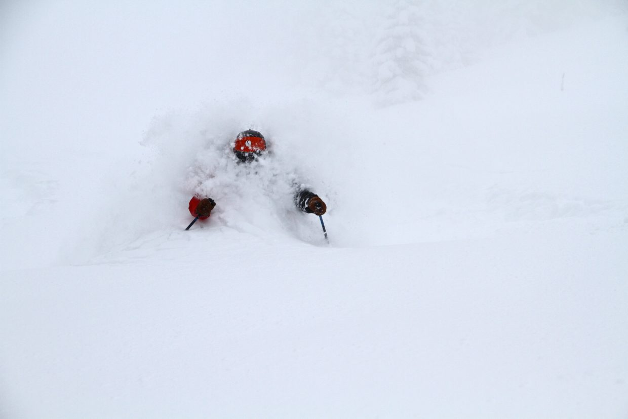 "Kevin Owens, a guide at Steamboat Powdercats, enjoying some time in the ""white room."""