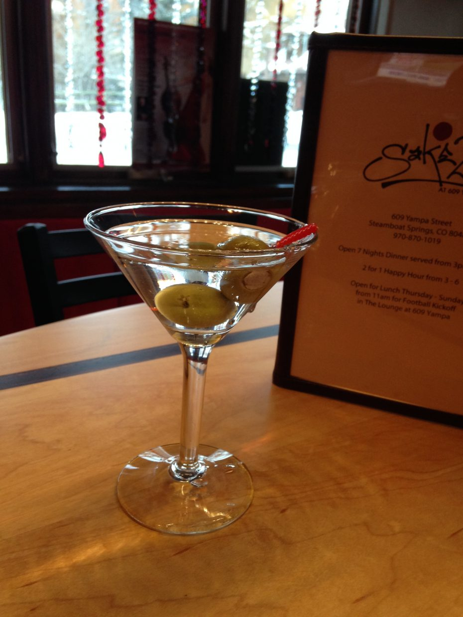 One of Sake2U's featured martinis with truffled vodka and blue cheese stuffed olives.