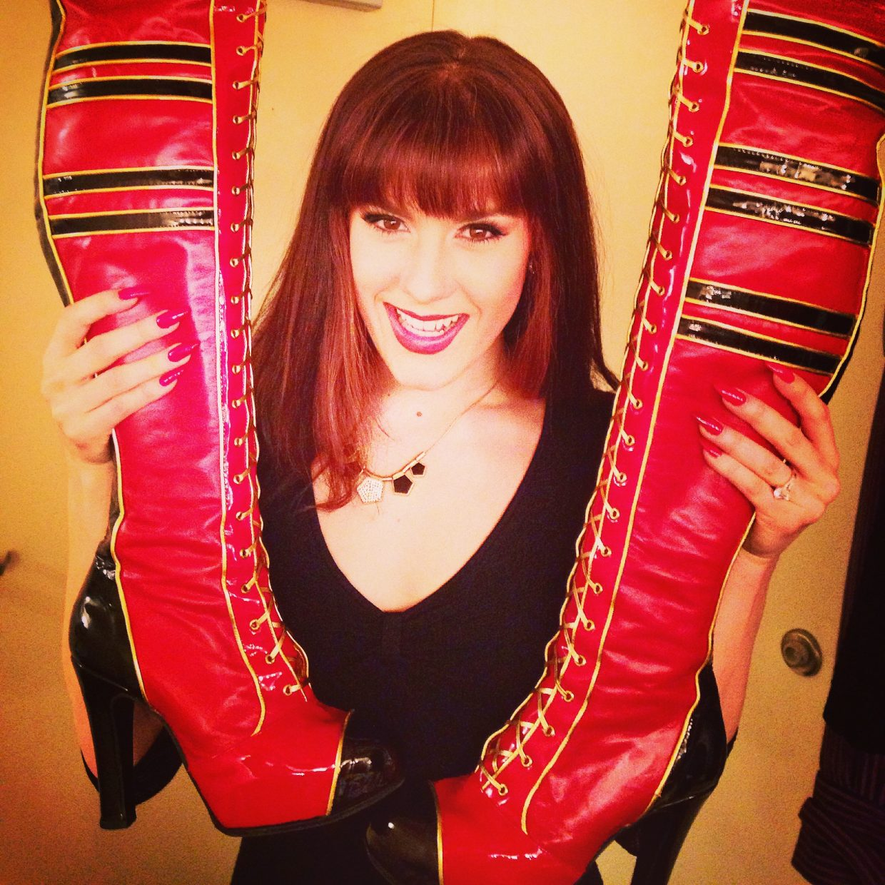 """Steamboat local Grace Stockdale is in character as Nicola for her role in """"Kinky Boots,"""" the show that was in Denver last weekend and is touring across the country during the next year or two."""
