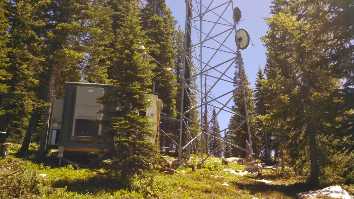 This is a photo of the radio antenna located on Storm Peak that transmits the WWFM: 91.1 the classical music station out of Trenton, NJ.