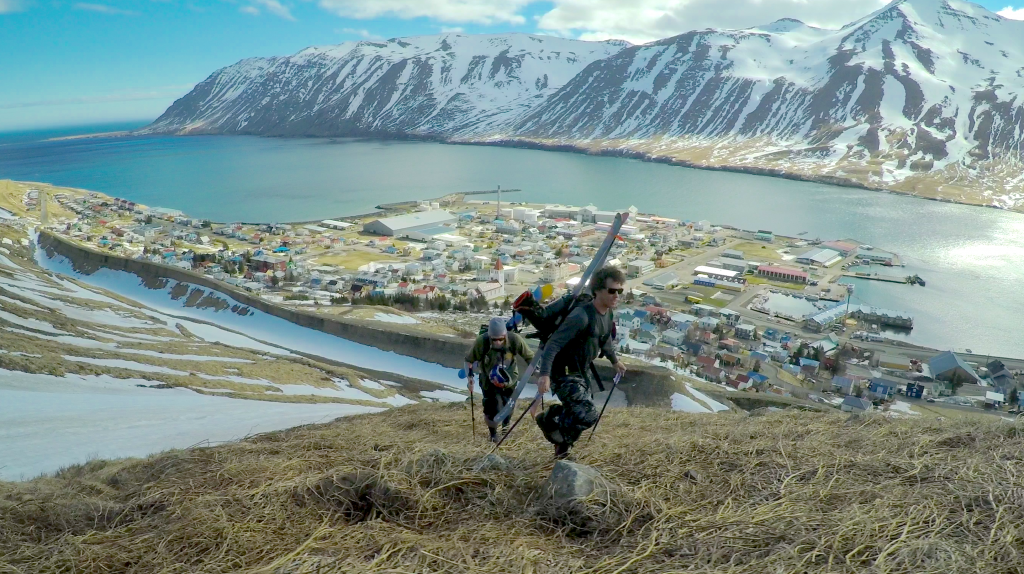 """In this photo, two skiers from the Matchstick Productions (MSP) film crew attempt to unique lines to ski in Iceland. At the annual Steamboat Mountain Film Fest, the MSP film """"Fade to Winter"""" will be featured with a focus on nine skiers on a worldwide quest for snow to find good conditions while also making the best of unusual situations."""