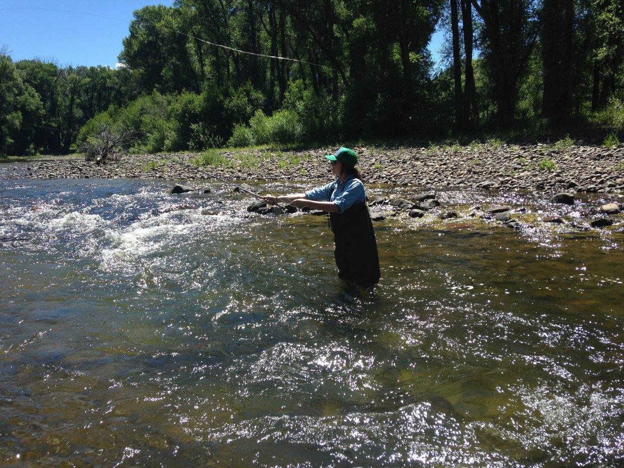 Audrey Dwyer attempts a few casts and finds that there are a lot of simple things that have to come together in the proper order to be successful in fly fishing.