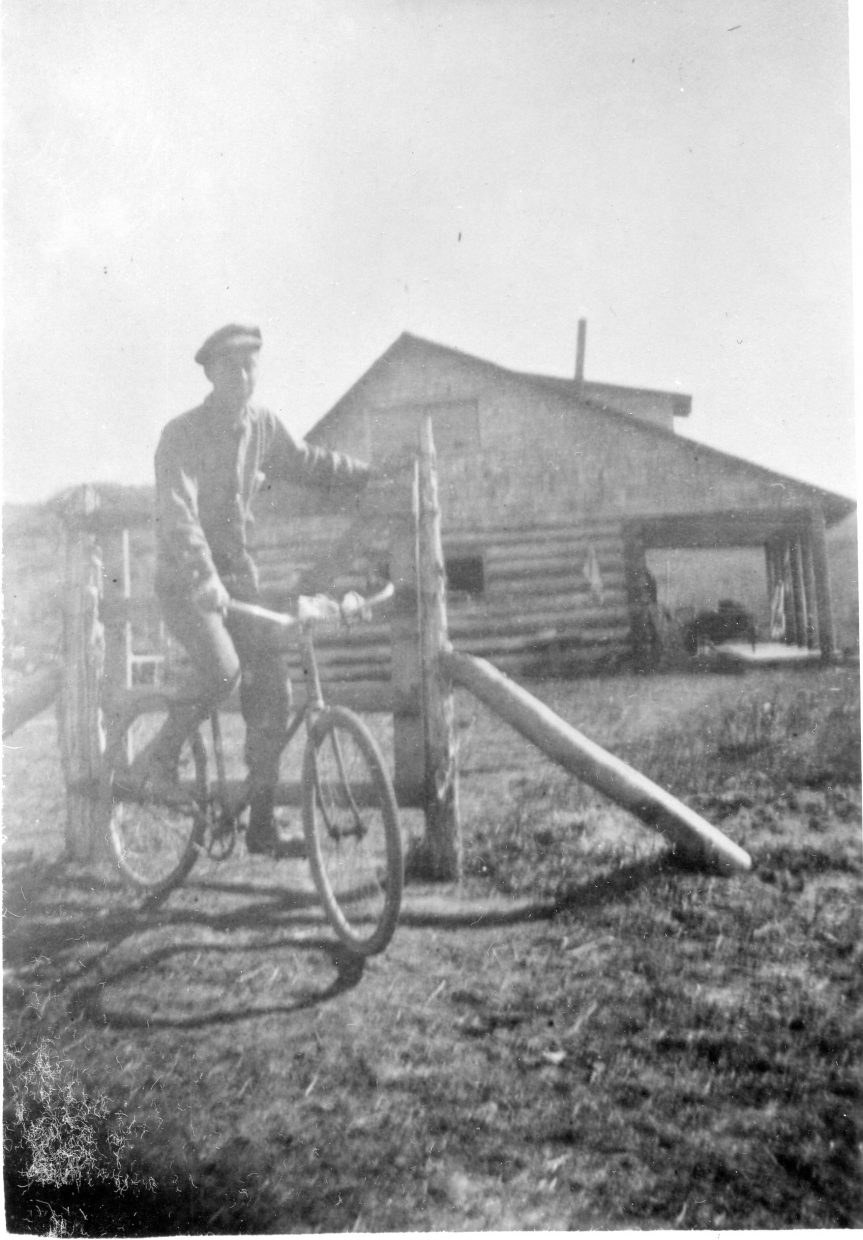 Ferry Carpenter, a well-known figure in Hayden, sits astride his bicycle at Oak Point. Carpenter would ride the Cog regularly from his homestead to town in the early 1900s. At Saturday's Third annual Ride the Cog fundraiser, participants can take part in three different bike rides while supporting the Hayden Heritage Center.