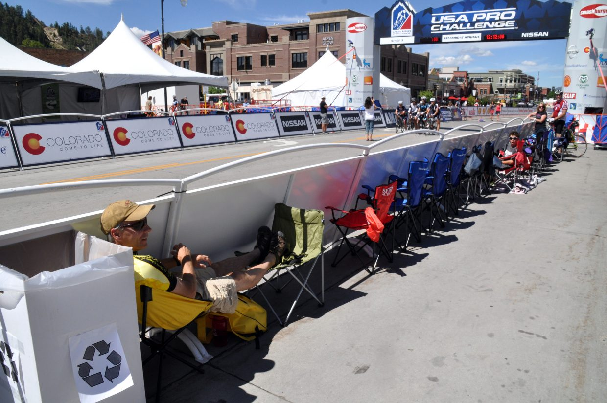 Some of the best sports to watch the USA Pro Challenge require some waiting. Fans showed up to get the best downtown locations hours before the race finished.
